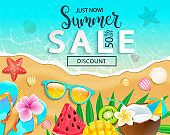 Summer sale 2019 top view banner.