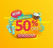 Summer wow Sale promotion on yellow background.