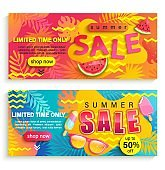 Set of summer sale banners, flyers.