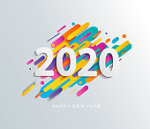 New Year 2020 card on modern motion background.