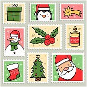 happy merry Christmas postage stamps stock illustration