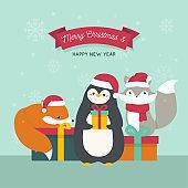 Happy Merry Christmas animals background illustration