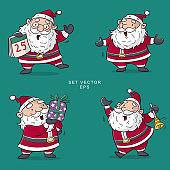 santa clause set vector, cartoon illustration
