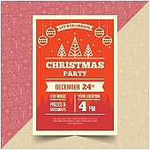 Beautiful Happy Merry Christmas Party Flyer Vector
