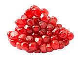 Ripe pomegranate fruit segment isolated on white background