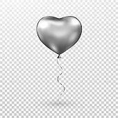 Heart gray balloon on transparent background. Silver helium glossy balloon. Realistic foil baloon for party, Christmas, Birthday, Valentines day, Womens day, wedding. Vector illustration