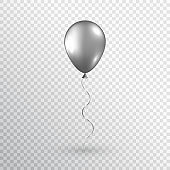 Gray realistic balloon isolated on transparent background. Silver balloon. Glossy helium balloon for wedding, birthday party, grand opening, sale promotion. Vector illustration
