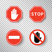 Stop sign and no entry hand symbol set isolated on transparent background. Red road signs. Traffic regulatory warning stop symbol. Notify template for apps and websites. Vector illustration