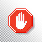 No entry hand sign on transparent background. Red stop sign icon with hand palm. Road sign. Traffic regulatory warning symbol. Notify template for apps and websites. Vector illustration