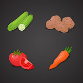 Vegetable vector icon set.
