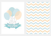 Baby shower invitation for boys Blue balloons ribbon text Set 2 cards Vector