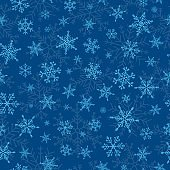 Vector Merry Christmas seamless pattern. Winter background with snowflakes in different shapes. Many cold flake elements on modern classic blue background, Xmas concept. Snow flakes illustration.