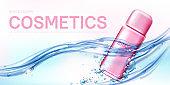 Pink spray bottle female deodorant in water flow