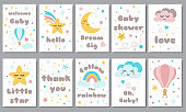 Baby shower posters set Invitation stars moon cloud rainbow Baby arrival shower collection text phrase Vector