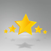 Five star golden rating, feedback creative vector illustration winning