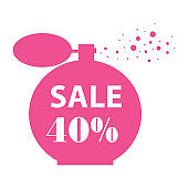 typography sale 40% off and pink perfume bottle