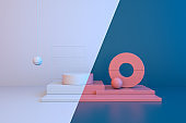 Creative layout made of a geometric background for commercial advertising, 3d rendering.