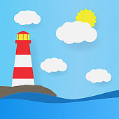 Lighthouse on the seashore, clouds and sun. Paper art vector illustration.