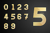 Golden numbers set. Vector icons with glows