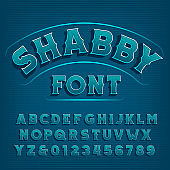 Shabby alphabet font. Vintage letters and numbers.