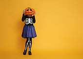 little girl in skeleton costume