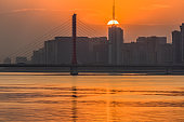 Bay Bridge over sunrise in hangzhou, china