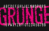 Grunge alphabet font. Distressed messy letters and numbers.