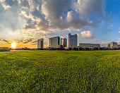 Buildings and green lawn
