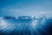 Empty floor and beautiful city night view in Hangzhou