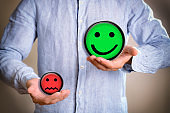 Concept of person valuing positively with colorful emoticon illustrations
