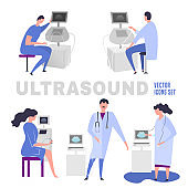 Flat ultrasound icons set