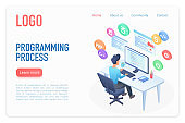 Programming process landing page isometric vector template