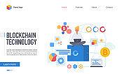 Blockchain technology landing page flat vector template