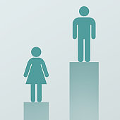 Male figure outweigh higher than female on pedestal