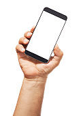 hand holding a smartphone empty screen