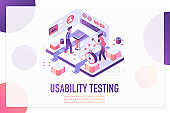 Usability testing isometric landing page vector template. Website optimization and customization services webpage design layout. User experience, UI, UX. App, software development 3d concept.