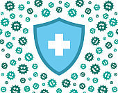 hygienic shield protecting from virus, germs and bacteria. Flat style vector illustration. Green, and blue