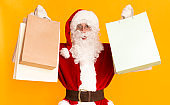 Santa Claus holding shopping bags from wow sales day