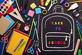 Creativity mess of school supplies and chalk painted backpack