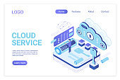 Cloud service landing page isometric vector template. Programmer synchronizing personal information. Database storage, data encryption and protection. Cloud computing website homepage layout.