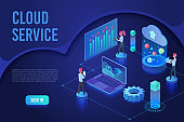 Cloud service landing page isometric vector template