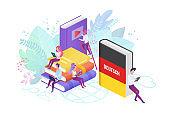 Online language modern courses flat vector illustration