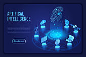 Artificial intelligence dark neon light landing page isometric vector template. Futuristic innovation, cloud computing server. Datacenter, database website homepage 3d layout.