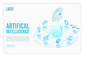 Artificial intelligence landing page isometric vector template. Head with circuit board 3d illustration. Futuristic innovation, cloud computing server. Datacenter, database website homepage 3d layout.