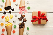 Lovers day background with various sweets and giftbox