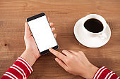 woman hand holding a smart phone
