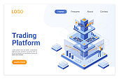 Trading platform isometric landing page template. Online financial market analytics. Digital stock exchange software. Cryptocurrency analyst cartoon character. Broker services webpage design layout