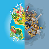 Save the panet concept. Cartoon globe divided into two halves of clean ecology and dirty pulluted. Eco Earth protection vector illustration.