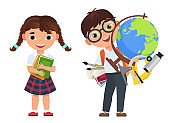 Cute kids couple with school supplies. School boy and girls childs with books and other school supplies. Back to school poster vector vector illustration.