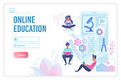 Online education flat vector landing page template
